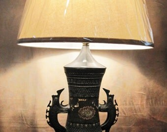 Antique Chinese Champleve Lamp
