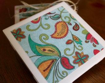 Set of 4 tile coasters - Light Blue Floral Paisley Design - Housewarming, Hostess, Birthday, Shower gift