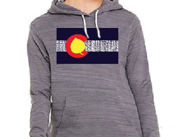 15% OFF!!! ** Aspen Tree Colorado Flag design Gray Hoodie (free gift with purchase)