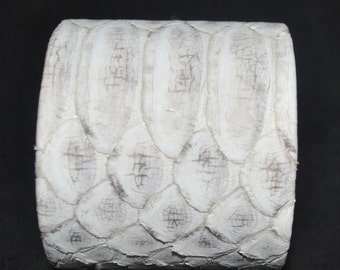 Python Cuff Bracelet Exotic Snakeskin 100% Genuine 2 inch width leather lining dust bag included- Color-White/Grey