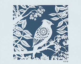 Crestedtit in Foliage - bird papercut - print from an original handmade art work.