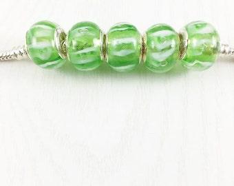 Set of 5 Green European Beads, Glass Murano Beads, Large Hole Beads, European Charm Beads, European Bracelet, Bracelet Beads, EB1281