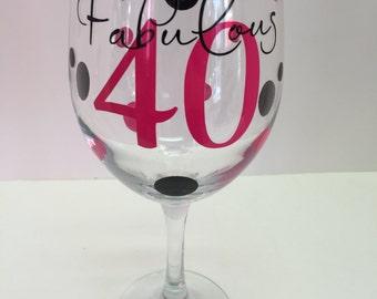 40th Birthday Glass- Monogrammed Wine Glass-40- Birthday-Custom 40th Glass- Birthday Girl- 40th Birthday Girl Glass