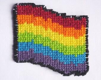 Handmade embroidered Pride Flag