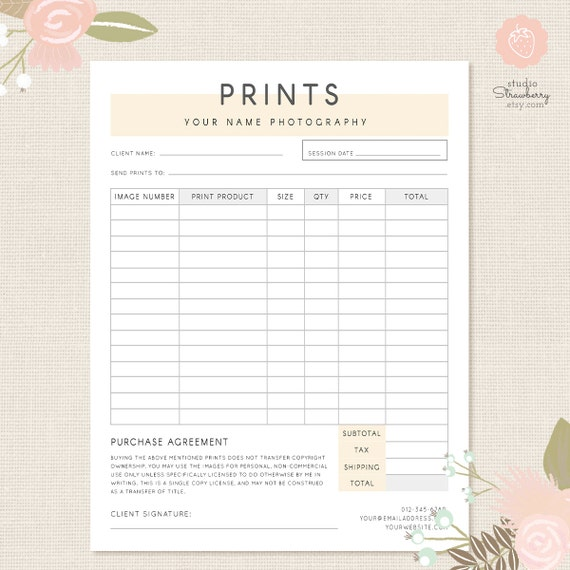 Order Form Template, Photography Order Form, Photography Forms, Purchases, Orders  Template For Photographers, Photoshop Template, PSD File  Product Order Form Template