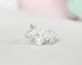 Sterling Silver Floral Cluster Ring Gift for Her