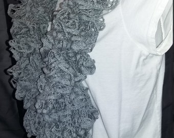 Crochet Infinity Ruffle Scarf  - Item JB89