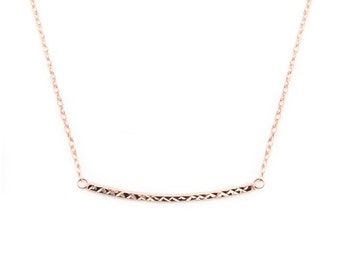 "Gold Line Necklace. 17"" 925 Sterling Silver with 14K Gold Plated."