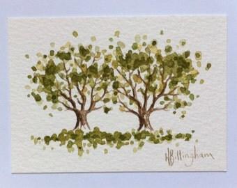 Little Trees - original miniature watercolour painting