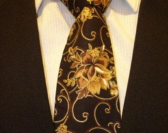 Floral Necktie, Floral Tie, Mens Necktie, Mens Tie, Brown Necktie, Brown Tie, Chocolate Necktie, Chocolate, Tie, Father, Gift, Dad, Cotton