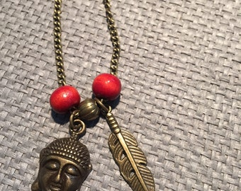 chain with Buddha, feather pendant and wooden beads