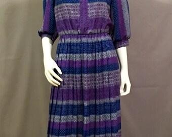Vintage 1980s Secretary Dress by Breli Originals   Pleated Skirt   Summer Dress   Day Dress