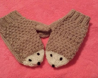 Kids Knitted Hedgehog Mittens