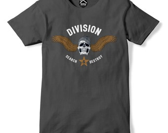 Division Search and Destroy T Shirt Biker Gang Skull Dope Gaming Tshirt top PP139