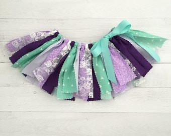 Purple/Lavender and Mint Fabric Tutu, Baby Girl, Birthday Outfit, Scrap Skirt