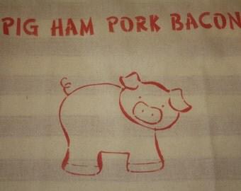 Ham Bag with cartoon pig print - PIG HAM PORK Bacon - gift idea