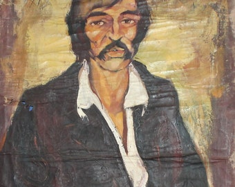 1978 large oil painting man portrait signed
