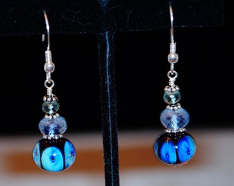 Handmade Lampwork Bead, Mystic Quartz and Sterling Silver Earrings
