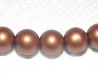 10 satin effect glass beads, round, coffee, 10mm