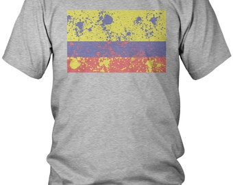 Paint Splatter Colombia Men's T-Shirt, Republic of Colombia, Colombian, Bogota, Country Flag Crest, Men's Colombia Soccer Shirts AMD_1474