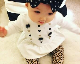 Black and white Polka Dot Baby Headband