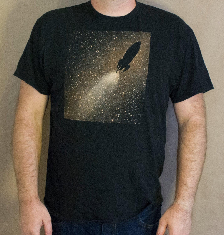 Rocketship t shirt bleach design men 39 s shirt original for How to bleach designs into shirts