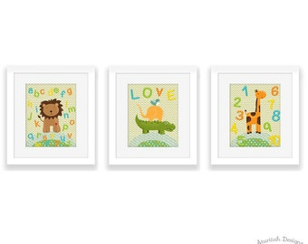 Nursery Jungle Wall Art | Printable Jungle Animals Wall Art | Instant Download