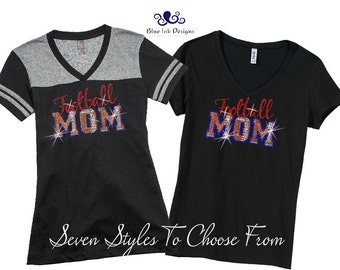 Football Mom Shirt, Rhinestone Football Mom, Football Mom, Rhinestone Football Mom T, Rhinestone Football Varsity Shirt, Football Mom Tank