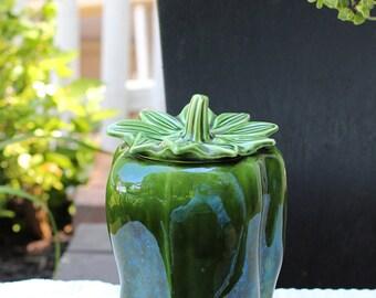 Vintage McCoy Green Bell Pepper Pottery Cookie Jar #157