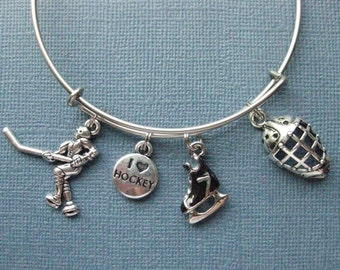 Hockey Bangle - Hockey Charm Bracelet - Hockey Jewelry - Hockey - Charm Bracelet - Bangle -- B130