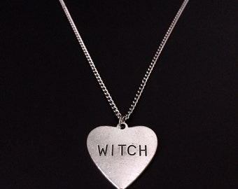 Witch Heart Necklace, Witch Necklace, Witchy Jewelry, Grunge Jewelry, Silver Heart Necklace, Gothic Jewelry, Occult Jewelry