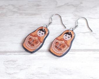 Matryoshka Earrings Orange Matryoshka Jewelry Matryoshka Doll Earrings Russian Doll Earrings Babushka Jewelry Babushka Earrings Gift Idea