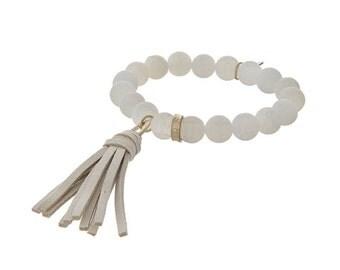 Matte White Agate tassel bracelet