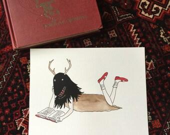 Monster girl reading hand-colored silkscreen print