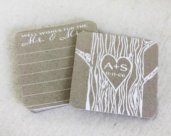 Rustic Guest Book Alternative set of 20 Rustic Coasters Personalized Coaster Rustic Wedding Coaster with Names Wedding Advice Coaster