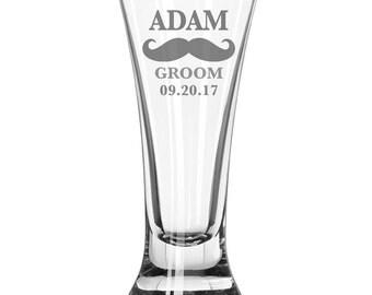 Set of (1) Etched Pilsner Glass, Wedding, Best man, grooms gift, groomsman, etched glassware, weddings, Pilsner glass, Beer Mug