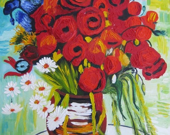 "Vase with Daisies and Poppies inspired by Van Gogh. Original Oil Painting on Canvas. 40 х 50 cm. 16"" x 20""."
