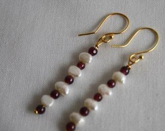 Garnet and Fresh Water Pearl earrings