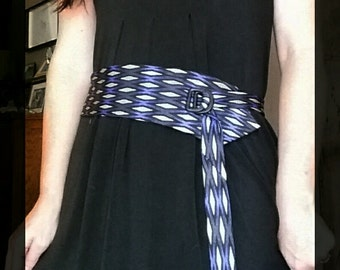 Bold blue dress belt, fashion dress belt, fabric belt, gift for her, repurposed fashion, sustainable fashion, upcycled tie belt, ties