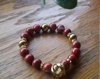 Gorgeous sedimented red Jasper handmade bracelet