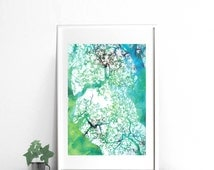 Abstract Turquoise Watercolor of forest trees, Printable Art, 18x24 print, 18x24 Poster downloadable art Interior Decor Wall Art print