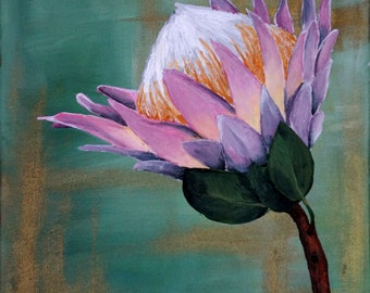 Protea on green Acrylic Painting on Canvas