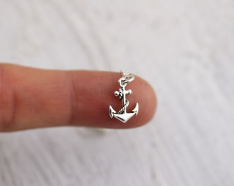 Anchor Necklace - Sterling Silver Tiny Anchor Necklace - Sailing Necklace - Nautical Necklace - Refuse to Sink