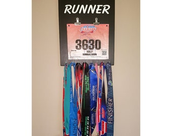 """Handmade Running Medal and Bib Holder/Hanger """"'California' Runner"""""""