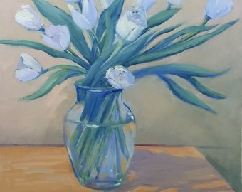 A Vase of Tulips 16wx20h, oil on canvas, unframed, impressionistic art,white tulips, floral