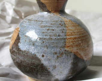 "Small Glazed Hand-painted Earthenware Vase/Pencil Holder - 3"" diameter, 3"" height"