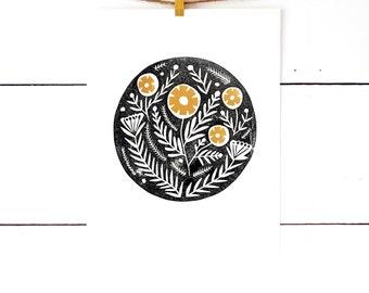 Art Gifts, Block Print, Floral Print, Nordic Art, Nature Prints, Floral Art, Flower Art Print, Linocut, Flower Wall Art, Scandinavian Art