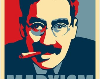 Marxism Poster 24x36 Comic Groucho Marx With Cigar Red White & Blue Funny Rare