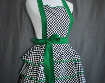 Go!!!..... Retro Racing themed flirty apron