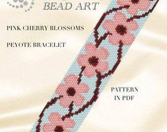 Peyote Pattern for bracelet - Pinkish cherry blossoms peyote bracelet cuff pattern in PDF instant download